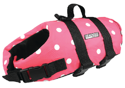 DOG VEST PINK POLKA XS 7 TO 15