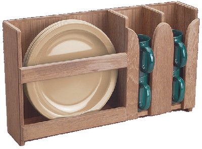 TEAK HOLDER DISH AND CUP